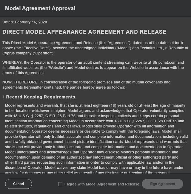 Sign Stripchat's model agreement